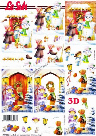Children Delivering Christmas Presents 3d Decoupage Sheet